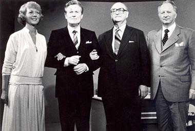 Forsetaframbjóðendurnir 1980 - Guðlaugur Þorvaldsson ríkissáttasemjari, Albert Guðmundsson þingmaður og Pétur J. Thorsteinsson sendiherra
